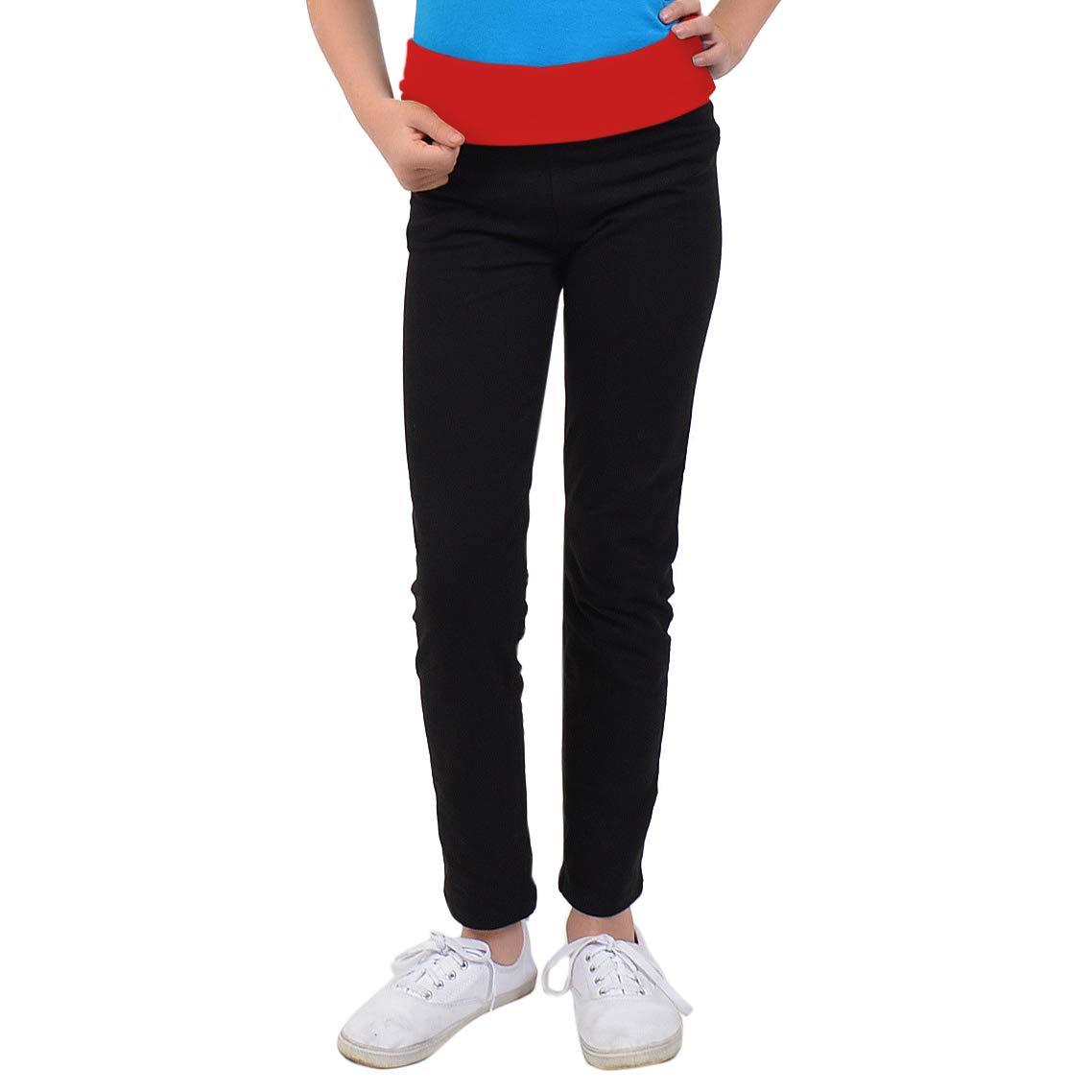 Stretch is Comfort Girl's Teamwear Foldover Full Length Cotton Leggings L3002FL-$P