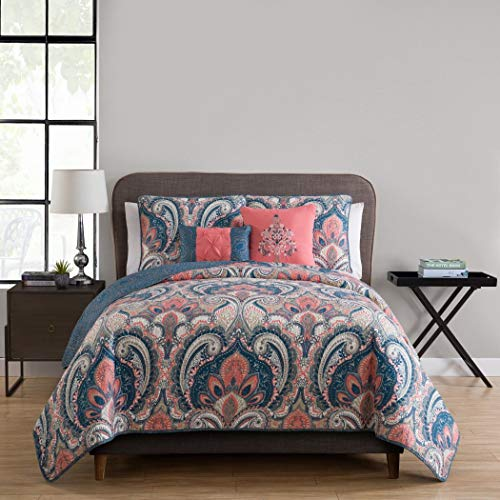 4pc Girls Paisley Themed Quilt Twin Set, Hippie Floral Pattern, Pretty Hippy Flower Medallion Stylish Bedding, Boho Chic Bohemian, Coral Pink Light Blue Leaf Green