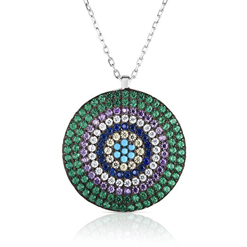 Unique Royal Jewelry Sterling Silver Outer Green 6-Multiple Colors Circular Nano Pendant Necklace with Adjustable Length 16
