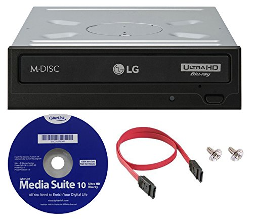 LG WH16NS60 16x Internal Blu-ray BDXL M-Disc Drive (with Ultra HD 4K Playback) Bundle with Cyberlink Software and SATA Cable by LG