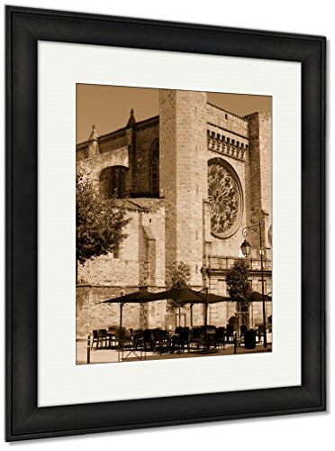 Ashley Framed Prints A Catholic Church In Southern France In The City, Wall Art Home Decoration, Sepia, 40x34 (frame size), Black Frame, AG5940394 by Ashley Framed Prints