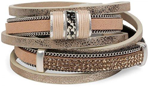 styleBREAKER Vintage Wickelarmband mit Strass, Gliederkette und Magnetverschluss, 3-Reihig, Armband, Damen 05040024, Farbe:Antik-Beige
