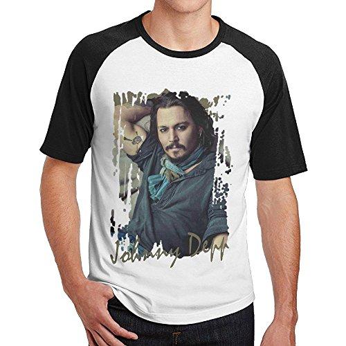 Ulongpoq Men's Johnny Depp Short Sleeve Raglan Baseball Tshirts Black Medium