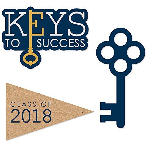 Graduation Key - Big Dot of Happiness Grad Keys to Success - 2018 Graduation DIY Shaped Party Cut-Outs - 24 Count