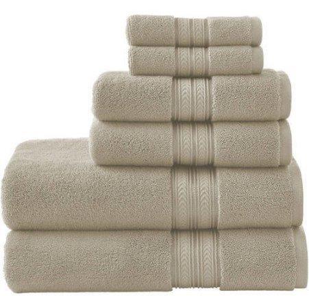 BGH 6-Piece Thick and Plush Solid Cotton Bath Towel Set (Papyrus Beige)