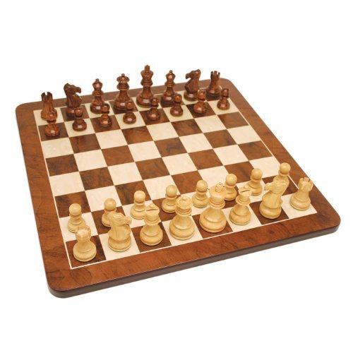 (WE Games Grand English Style Chess Set - Weighted Pieces & Walnut Root Wood Board 19 in. by Wood Expressions)