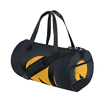 Amazon com | Duffel Bag Wolf Howling By The Cemetery Women