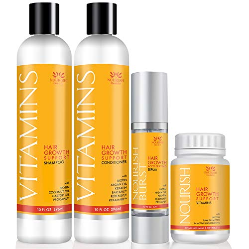 Nourish Beaute Hair Loss Bundle to Promote Hair Regrowth, Volume and Thickening, Includes 1 10 Ounce Bottle of Shampoo and 1 10 Ounce Bottle of Conditioner, 60 Vitamin Tablets and 1 1.7 Ounce of Serum ()