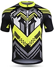 NEENCA Men's Cycling Bike Jersey Short Sleeve with 3 Rear Pockets,Cycling Biking Shirt Full Zipper Moisture Wicking Breathable Quick Dry