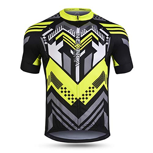(NEENCA Mens Cycling Jersey Short Sleeve with Full Zip, Quick Drying, 3 Pockets - Sports Shirt Yellow)