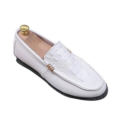 82080377e09c13 XIGUAFR Chaussure de Conduite en Cuir Souple Homme Chaussure de Ville  Casual sans Lacet Légère Blanc