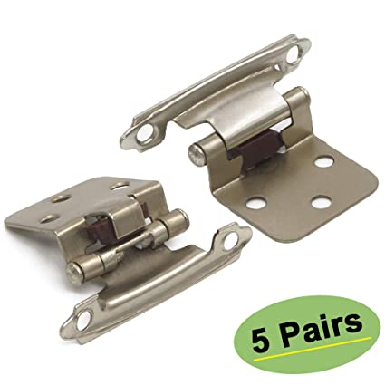 Homdiy Kitchen Cabinet Hinges Satin Nickel 10 Pack 5 Pairs Sch30snb Hinges For Kitchen Cabinets Self Closing Variable Overlay Cabinet Door Hinges
