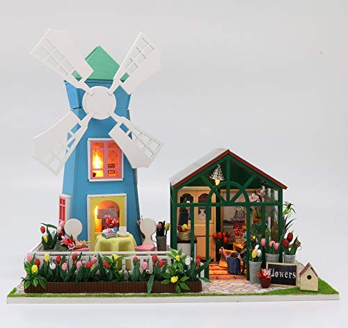 Kisoy Miniature DIY Dollhouse Kit with Furniture Accessories Creative Gift for Lovers and Friends (Windmill & Greenhouse) with Dust Proof Cover and Music Movement