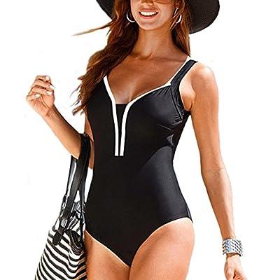 Womens One Piece Bikinis Swimsuits Sexy Deep V Neck Padded Tank Bikini Bathing Suits High Cut Out Strappy Swimwear Monokini
