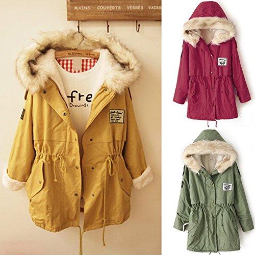 Veste Capuche Fourrure Vert a Chaud Hiver Manteau Femme Parka Jacket avec Manche Automne Hoodie CRAVOG Poche Longue Militaire pqzUH4wI