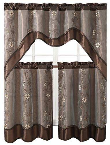 Victoria Classics Daphne Embroidered Kitchen Curtain Set By Assorted Colors (Chocolate) -