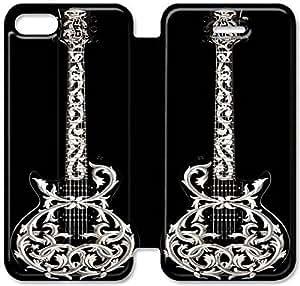 iPhone 5 5s funda, Flip funda para iPhone 5 5s, [GUITARRA GUITARRA FEU] premium Flip PU ??cuero Funda para iPhone 5 5s [DDUIPH3463611]