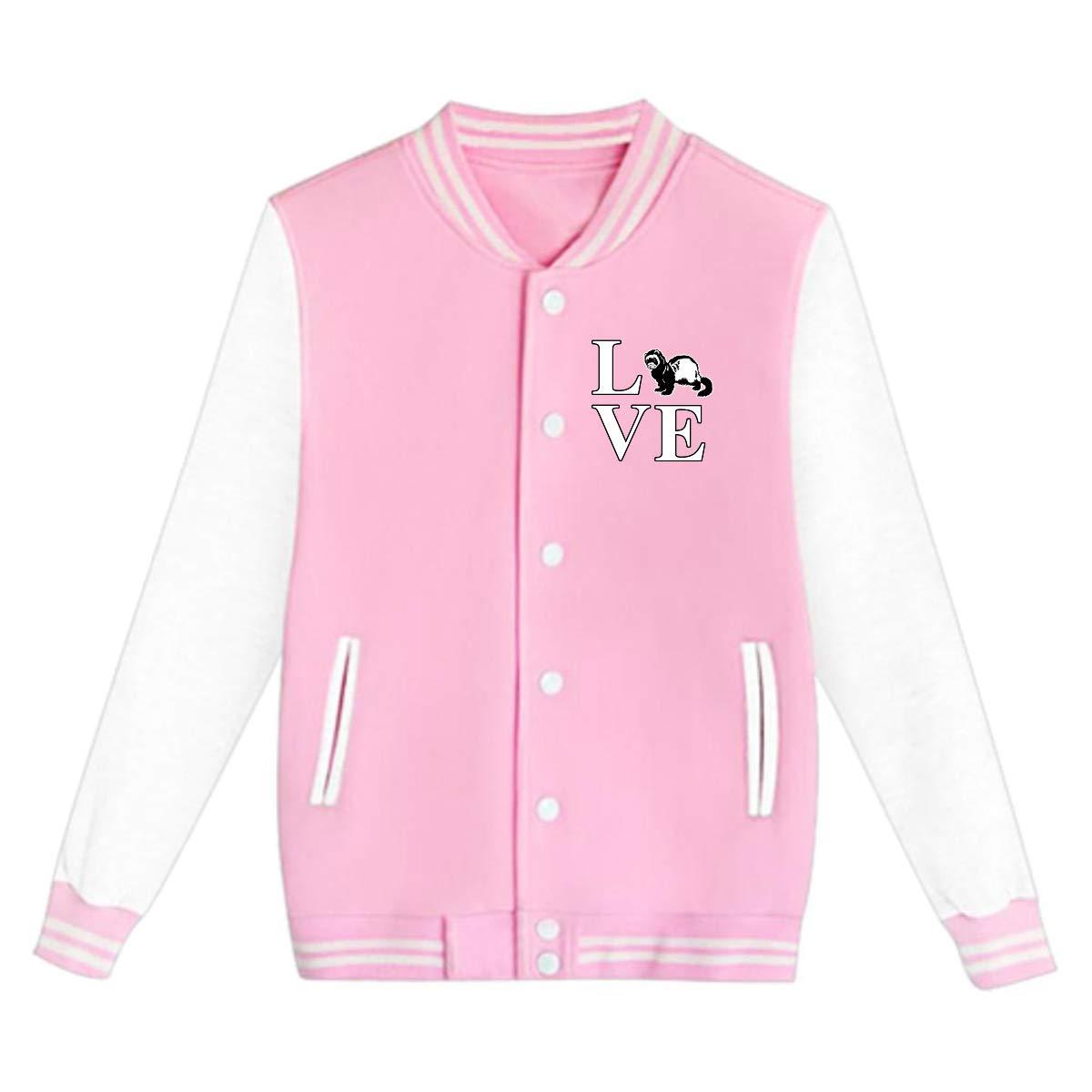 Tina TN I Love Ferrets Teens Boys Girl Varsity Baseball Jacket Long Sleeve Sport Baseball Uniform Jacket Coat Sweater Black