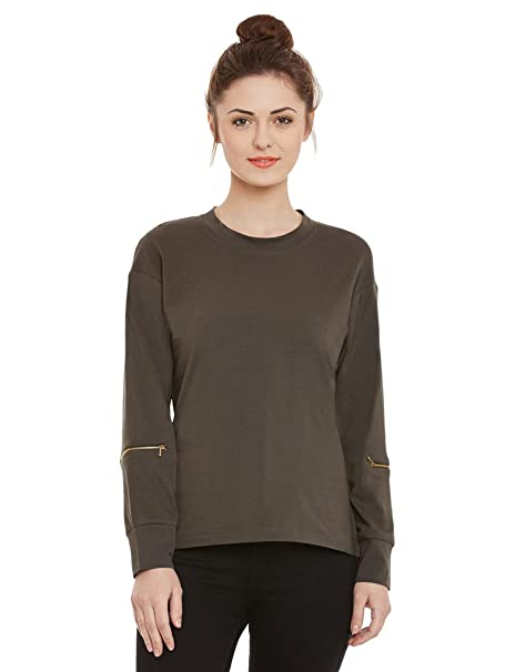 3d2f2474 Miss Chase Womens Olive Green Basic Full Sleeves Top(MCSS17TP07-69-48-