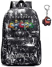 Onder ons rugzak, sWerewolf Killing Student Rugzak, schooltas, jongen en meisje laptop rugzak, cadeau voor tienerspelfans, met sleutelhanger
