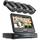 SANNCE1080P 4-Channel 10.1 LCD Monitor Security Camera System with (4) 1080P Cameras, IP66 Weatherproof Night Vision Remote Access in Mins Motion Detection Monitoring System(No HDD)