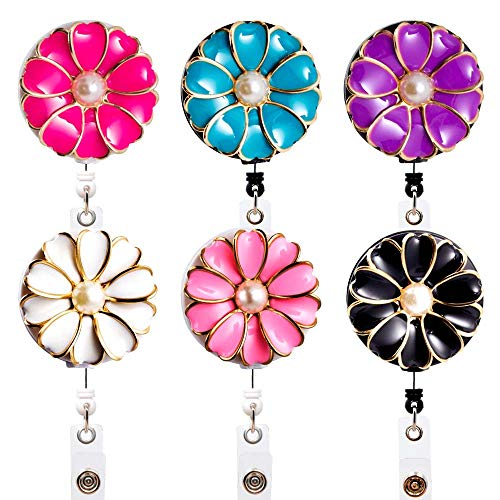 (Qinsuee 6 Pack Camellia Badge Reels, 24 in Retractable Cord with Rotating Alligator Clip, Assorted Colors ID/Name Badge Holder Clip for Nurse, Teacher and Office Use)
