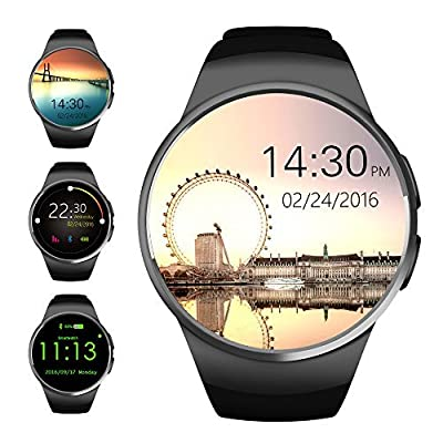 Bluetooth Smart Watch,Evershop® 1.3 inches IPS Round Touch Screen Water Resistant Smartwatch Phone with SIM Card Slot,Sleep Monitor,Heart Rate Monitor and Pedometer for IOS and Android Smartphone