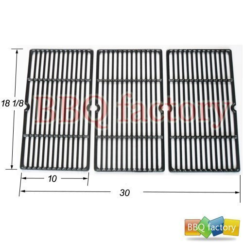 bbq factory® JGX993 Replacement Cast Iron Cooking Grid Porcelain coated Set of 3 for Select Gas Grill Models By Charbroil, Cuisinart, Kenmore, Tuscany and Others