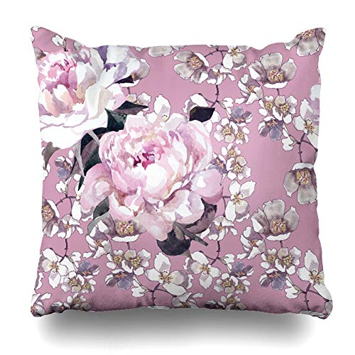 Ahawoso Throw Pillow Covers Floral Purple Bloom Watercolor Peonies Jasmin Flowers On Light Nature Blossom Drawing Garden Hand Home Decor Pillowcase Square Size 18