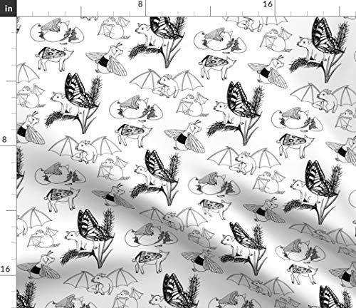 Black And White Pig Fabric - Flying Pigs Toile Novelty Animal Blackandwhite Fantasy Cute Not Owl Creature Print on Fabric by the Yard - Denim for Sewing Bottomweight Apparel Home Decor Upholstery