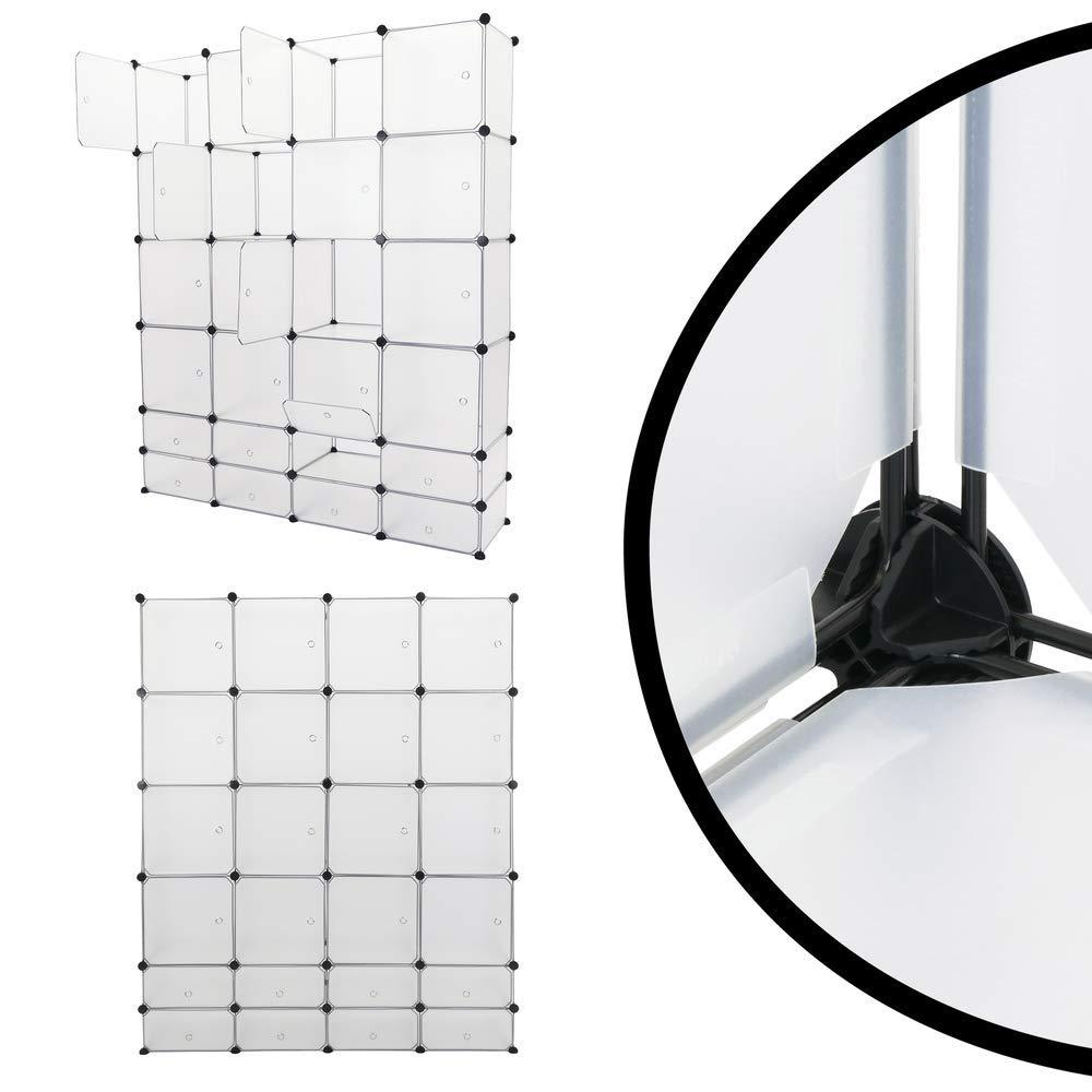 PrimeMatik Armario Organizador Modular Estanter/ías de 24 Cubos de 35x35cm 17x35cm pl/ástico Blanco con Puerta