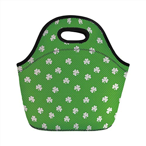 Lunch Bag Portable Bento,Irish,Old Fashioned Polka Dots Backdrop with Cultural Flowers Clovers Retro Classic,Lime Green White,for Kids Adult Thermal Insulated Tote Bags