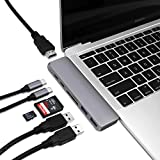 Macbook Pro USB C HUB with HDMI Type-C Adapter for 2017/2016 MacBook Pro 13 and 15 40Gbs Thunderbolt 3, Pass-Through Charging, USB-C Data Port, 4K HDMI, SD/Micro Card Reader and 2 USB 3.0 Ports
