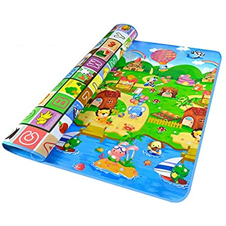 SODIAL(R) Double Side Waterproof Baby Toddler Soft Crawling Mat Picnic Blanket Play Mat-Animal car+ocean 043862A2