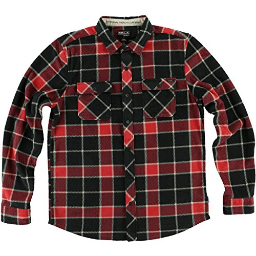 O'Neill Boys Glacier Big Plaid Button up Long-Sleeve Shirt Medium (Blk Plaid Button)