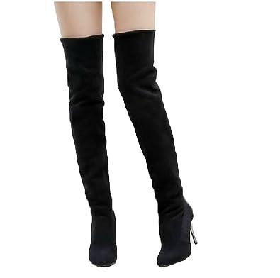 Herbst Winter Damen Spitzschuh Lange Overknee Stiefel High Heels Stiefel Langes Kleid Stiefel in Übergröße 36 43 Schwarz