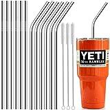 "Stainless Steel Straws, Antonki 15 Pcs 10.5"" Full Variety Reusable Metal Drinking Straws with Smooth-Friendly Wide Diameter Straw for Yeti 20oz 30oz 40oz Tumblers"