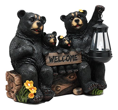 Ebros Beacon of Happiness Rustic Black Bear Family Welcome Sign Statue with Solar LED Light Lantern