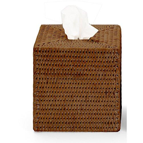 (DWBA Malacca Square Tissue Box Holder Cover Tray Dispenser Tissue Case - Rattan (Dark Rattan))