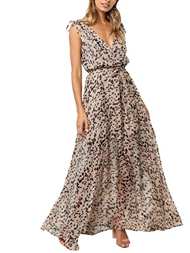 Simplee Women's Sexy V Neck Backless Leopard Dot Chiffon Casual Summer Maxi (Leopard Dot)