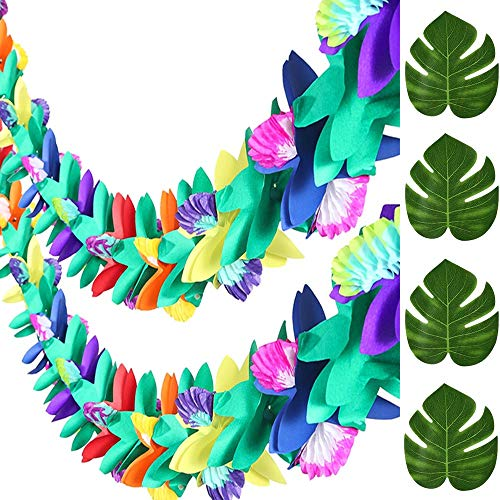2PCS Flower Banner Tropical Multicolor Tissue Garland Plus 12PCS Faux Monstera Tropical Palm Leaves for Hawaiian Luau Party Suppliers Aloha Jungle Beach Birthday Decorations,Indoor,Outdoor