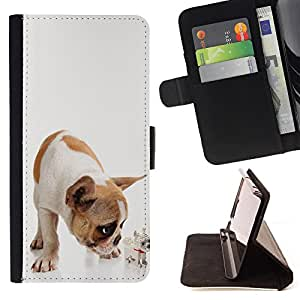 King Air - Premium PU Leather Wallet Case with Card Slots, Cash Compartment and Detachable Wrist Strap FOR Samsung Galaxy S5 V SM-G900 G9009 G9008V- Bulldog Bull Dog Pet Puppy