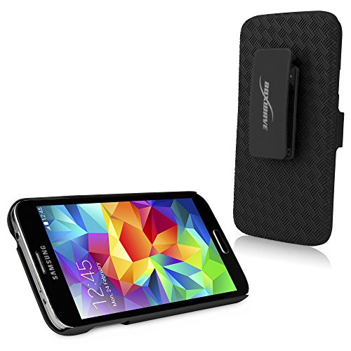 BoxWave Galaxy S5 Holster, [Dual+ Holster Case] Shell Cover and Belt Clip Holster with Kickstand for Samsung Galaxy S5 - Jet Black