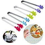Image of Ice Tongs, 5 inch Mini Tongs Food Tongs Sugar Tongs With Perfectly Designed Silicone Hand Shape Tongs Best Kitchen Gadgets, 4 PCS