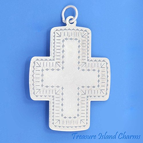 LARGE WESTERN STYLE CROSS .925 Sterling Silver Charm Pendant MADE IN USA Jewelry Making Supply Pendant Bracelet DIY Crafting by Wholesale Charms ()
