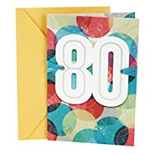 Hallmark 0499RZB1154 80th Birthday Greeting Card (Color Orbs)