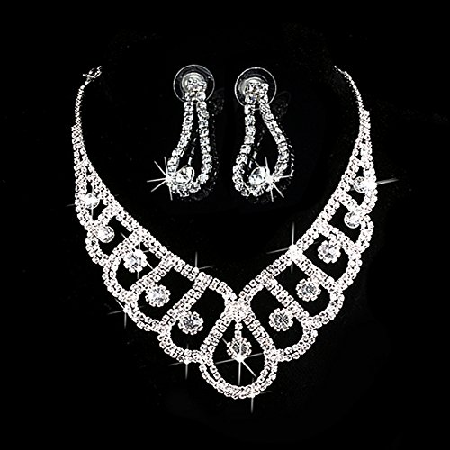 [MEXUD Luxury Wedding Bridal Rhinestone Crystal Pendant Necklace Earrings Jewelry Sets (1#)] (Difference Between Fashion Jewellery And Costume Jewellery)
