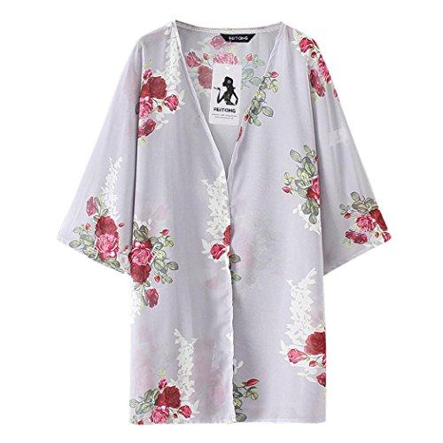 Fleurs Cardigan Couvrir Haut Blouse Wolfleague Tops Chale Gris Femmes Tenue Kimono Impression en ~ Casual Taille Plage Grande Chiffon XXXL de Vrac S Shirts de 4x8nwP7x