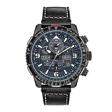 Men's Citizen Promaster Skyhawk A-T Black Leather Strap Watch JY8077-04H