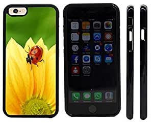 Rikki KnightTM Ladybug on Yellow Flower Design iPhone 6 Case Cover (Black Rubber with front bumper protection) for Apple iPhone 6 by mcsharks